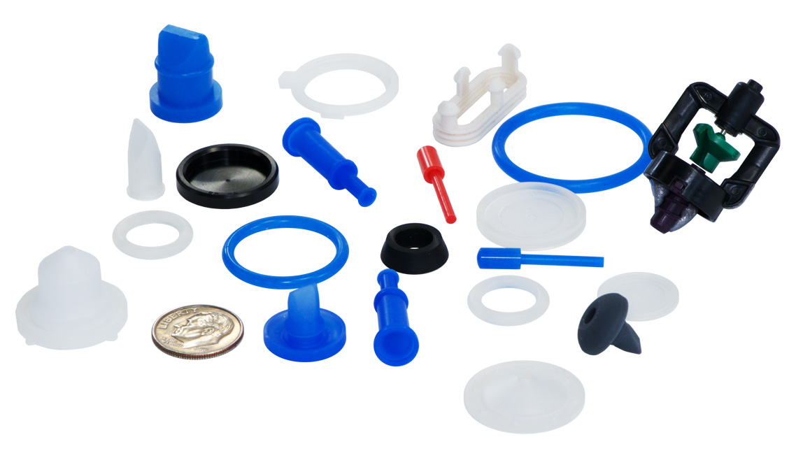 Mirco Parts, Valves, O-Rings, Packings, Press in Place Seal, Umbrella Relief Valve, Grommets, Isolators, Bushings, Flow Control Critical Seals, FKM, Viton, Nitrile, HNBR, EPDM, Fluorosilicone