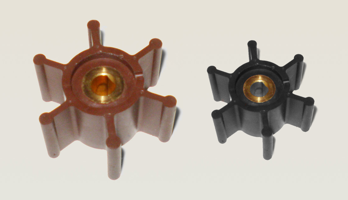 70 durometer Nitrile – Chemically Bonded Custom Colored Brass Over-molded Impellers